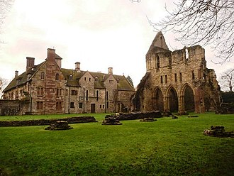 Gabrielle Drake - Drake's home Wenlock Abbey (left), attached to the ruins of the medieval priory