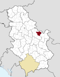 Location of the municipality of Kučevo within Serbia