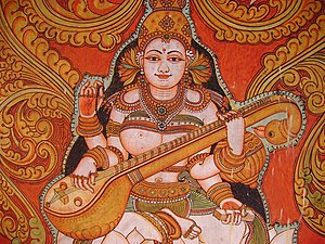 Veena - A temple mural showing veena.