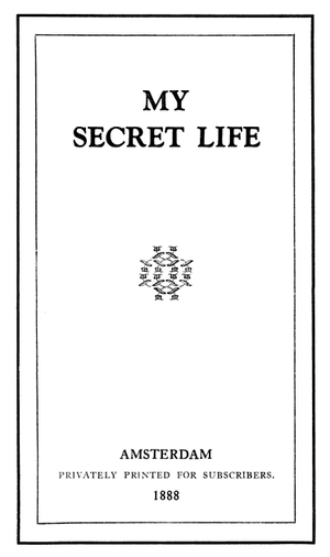 English: The title page of a My Secret Life re...