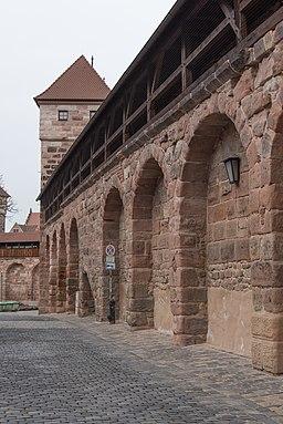 Nürnberg, Stadtbefestigung, Maxtormauer zwischen Schwarzes J und K-20160304-002