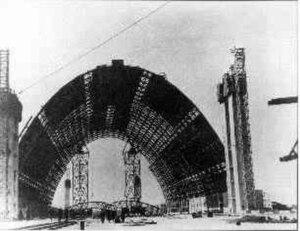 Marine Corps Air Station Tustin - Image: NAS Santa Ana blimp hangar construction 1942