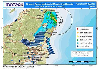 Radiation effects from the Fukushima Daiichi nuclear disaster - Map of contaminated areas around the plant (22 March – 3 April).