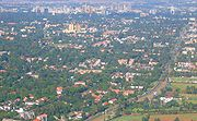 An aerial of Nairobi, the central business district and Ngong Road