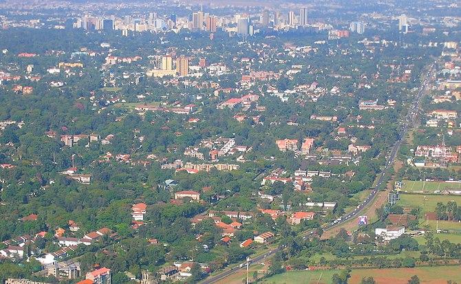An aerial of the Kenyan capital, Nairobi.