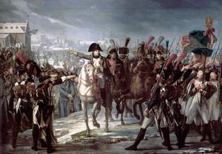 Napoléon harangue le 2ème corps de la Grande Armée sur le pont de Lech à Augsbourg le 12 octobre 1805