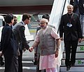 Narendra Modi, arrived at Tegel Military Airport, Berlin, on his way to Brazil to attend the BRICS Summit. He was received at the Airport by Ambassador, Shri Vijay Gokhale, and senior officials from the German side,.jpg