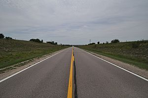 Nebraska Highway 15 - Highway 15 as it heads straight south through the rolling hills of northern Nebraska