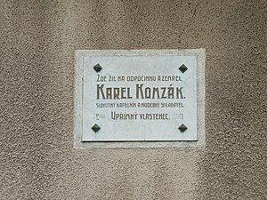 Karel Komzák I - Memorial plaque at Komzák's birthplace