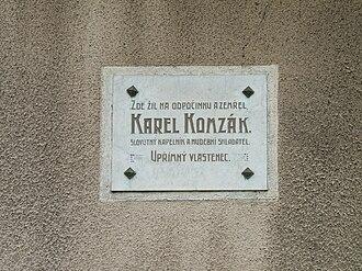 Karel Komzák I - Memorial plaque at Komzák's birthplace
