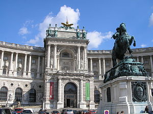 Austrian National Library - Austrian National Library entrance at Heldenplatz