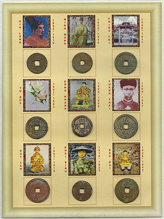 Vietnamese cash - The various cash coins of the Nguyễn dynasty (1802–1945).