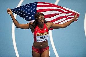 2014 IAAF World Indoor Championships – Women's 60 metres hurdles - Nia Ali after winning the event