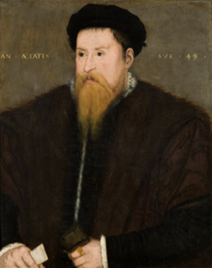 "Nicholas Throckmorton - Sir Nicholas Throckmorton (1515–1571) An(no) Aetatis Suae 49 (""in the 49th year of his age"", i.e. 1564). English, 16th-century Throckmorton Collection, Coughton Court, Warwickshire, Property of the National Trust, NTPL Ref. No.153603"