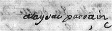 « Alayrac parrain », signature of the future composer, eight years old[b] (Source: Wikimedia)