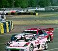 Nissan 300ZX Turbo - Eric van de Poele, Paul Gentilozzi & Syunji Kasuya follows Harrier LR9 Spyder - Rob Wilson, David Brodie & William Hewland at the 1994 Le Mans (31970126165).jpg