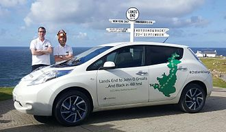 Land's End to John o' Groats - Jonathan Porterfield and Chris Ramsey at Land's End in a Nissan leaf