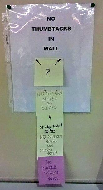 Self-referential humor - Image: No Thumbtacks