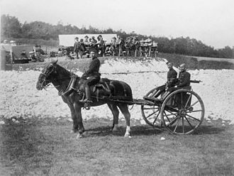 10th Royal Hussars - Men of the 10th Hussars with Nordenfelt 5 barrel machine gun, 1887