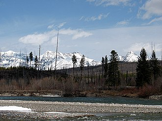 North Fork Flathead River - The river at the boundary of Glacier National Park