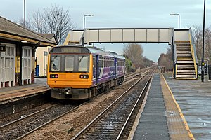 St Helens Junction railway station - Image: Northern Rail Class 142, 142046, St. Helens Junction railway station (geograph 3818825)