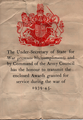 Note accompanying the Defence Medal (United Kingdom) front.png