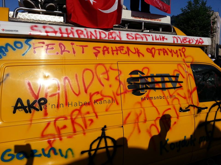 An NTV news van covered in anti-AKP protest graffiti in response to their initial lack of coverage of the Gezi Park protests in 2013 Ntv-Van Media for sales.png