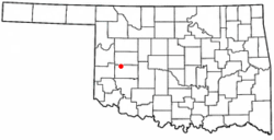 Location of Foss shown in Oklahoma