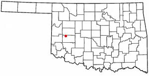 Foss, Oklahoma - Image: OK Map doton Foss