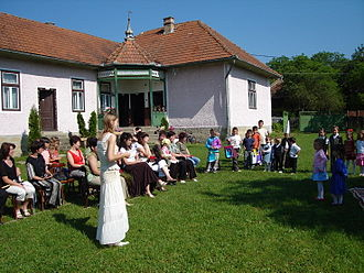 Education in Hungary - A Hungarian pre-school class having outdoor activities, March 2007.