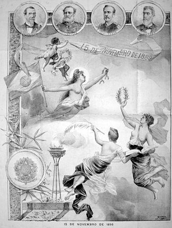 O Nicromante homenageia as principais figuras do regime republicano: o fundador Benjamin Constant, o proclamador marechal Deodoro da Fonseca, o consolidador marechal Floriano Peixoto e o pacificador Prudente de Morais.