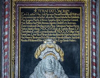 Oberdiessbach - Inscription on an altar in the von Wattenwyl family chapel