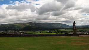 Ochil Hills - Ochil Hills and statue of Robert the Bruce as seen from Stirling Castle