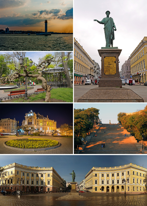 Odessa - Counterclockwise: monument to Duke de Richelieu, Vorontsov Lighthouse, city garden, Opera and Ballet Theatre, Potemkin Stairs, Square de Richelieu