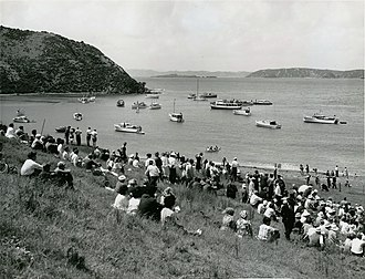 Rangihoua Bay - Rangihoua Bay at the time of the 150th anniversary of the first Christian service in 1964, where the Rev. R E Marsden (great-great-grandson of Samuel Marsden) conducted a commemorative service.