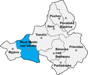 Podolie - Location of Nové Mesto nad Váhom District in the Trenčín Region