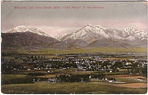 Pomona Valley - 1910 postcard image of Pomona, California with Mount San Antonio (Mt. Baldy) in distance.