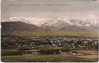 Pomona, California - 1910 postcard image of Pomona Valley with Mt. Baldy in distance.
