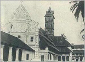 St. Antony's Forane Church -  A 1938 photo of St. Anthony's Forane Church, Ollur, photo published in the Cochin Government Royal War Efforts Souvenir