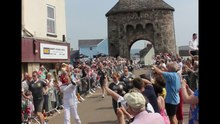 File:Olympic torch crossing Monnow Bridge, Monmouth.ogv