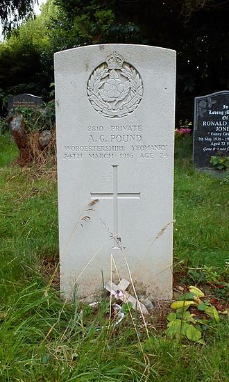 Queen's Own Worcestershire Hussars - Ombersley: headstone for A.G. Pound, Worcestershire Yeomanry