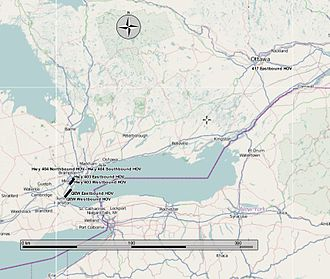 400-series highways - Map showing locations of HOV lanes in the province, as of March 2013