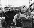 Ontploffing aan boord Noorse tanker Folga, duikers onderzoeken bodem schip te , Bestanddeelnr 906-7774.jpg