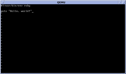 "The vi editor in OpenBSD, editing a small ""Hello, world!"" type Ruby program OpenBSD vi Editor Ruby Hello World.png"