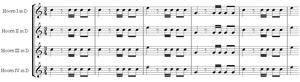 Symphony No. 31 (Haydn) - Image: Openingsthema symfonie 31 Haydn