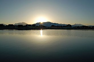 South Jordan, Utah - Sunrise over Oquirrh Lake, March 2008