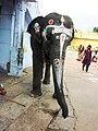 Painted temple elephant - Kanchipuram.jpg