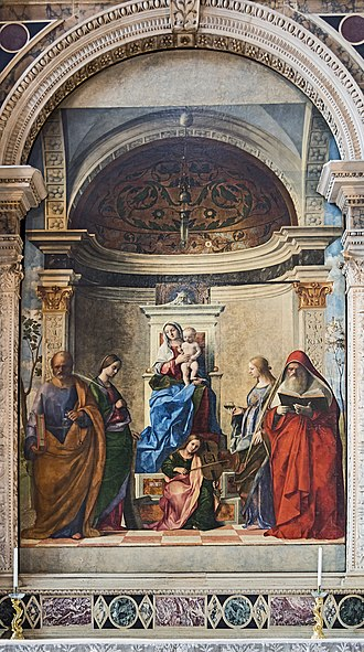 Venetian school (art) - San Zaccaria Altarpiece, 1505; oil on canvas, transferred from panel; San Zaccaria, Venice.