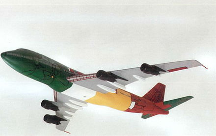 AAIB model showing fuselage and tail fracture lines and ground locations of parts. Green--southern wreckage trail; red--northern wreckage trail; grey--impact crater; yellow--Rosebank (Lockerbie); white--not recovered/identified. Pan Am 103 AAIB model fuselage damage.jpg