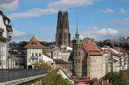 Fribourg/Freiburg - View of Fribourg with the Cathedral of Saint Nicholas